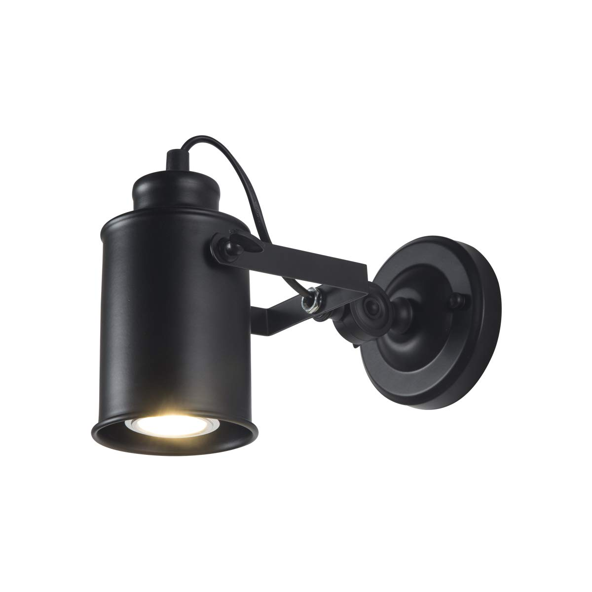 JINYU Vintage Industrial Loft Rustic Adjustable Wall Sconce Light//Wall Lamp Lights//LED Ceiling Flush Mount Lamps//Modern Spot Lighting//Night Spotlight,Black Color Metal Iron Lampshade//Spotting E27