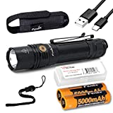 Fenix PD36R 1600 Lumen Type-C USB Rechargeable EDC Tactical Flashlight with 2X Fenix Batteries and LumenTac Battery Organizer