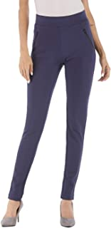 BodiLove Women's Slim Fit Performance Dress Pants with Zipper Pocket