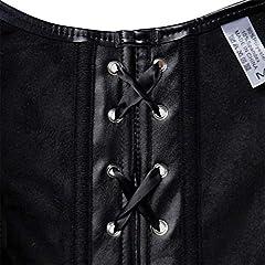 jutrisujo Leather Steampunk Corset Bustier Lingerie Clubwear Top Shoulder Straps Plus Size Costume Women Basques Black XL #3