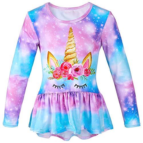 Beinou - Camiseta de Manga Larga con diseño de Unicornio y Unicornio para niñas Morado Morado (Talla 120 cm
