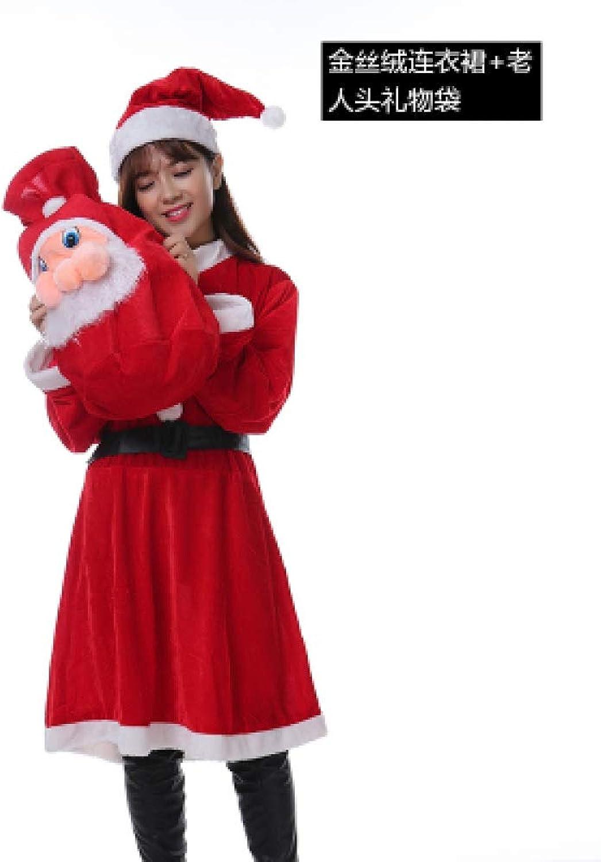 Gubby Weihnachten Kostüm Erwachsene Frauen Kleid Schal Paare Mnner Gold SAMT Weihnachtsmann Kostüme-3