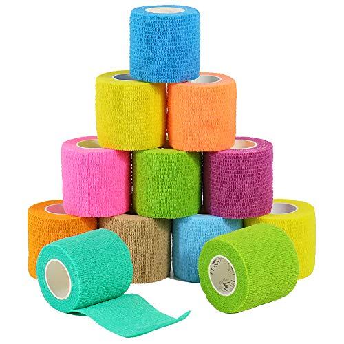 YUMAI vendaje cohesivo de primeros auxilios cinta autoadhesiva 5CM Paquete de 6, Paquete de 12 aprobado por la FDA (Paquete de 6, Azul) (pack of 12, Multicolor)