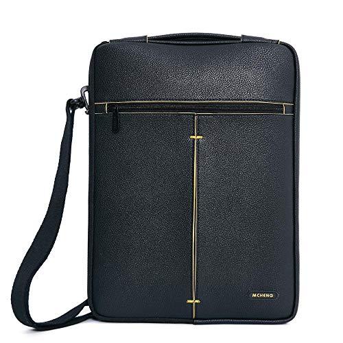 Fashion PU Laptop Sleeve Multi-Use Splashproof Shockproof Laptop Bag for 10 13 14 15.6 inch Notebook Case-Black_13-inch