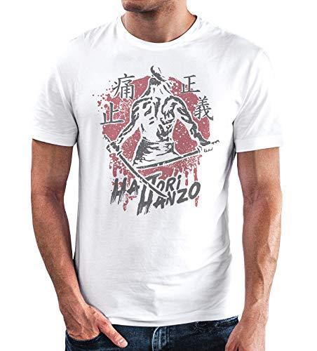 Neverless® Herren T-Shirt Samurai japanische Schriftzeichen Schriftzug Hattori Hanzo Fashion Streetstyle weiß M