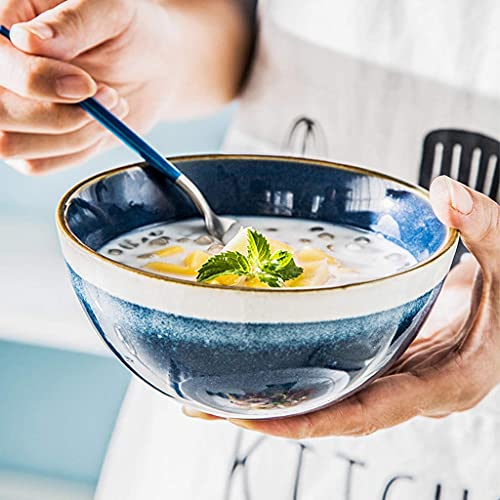 GAXQFEI Cuencos Mezclando Cuenco de Cerámica Ramen Ramen Tazón Capacidad Cereal Bowl Restaurant Soup Bowl Fruit Ensalada Cuenco Cuenco Hogar Vajilla 13X6Cm