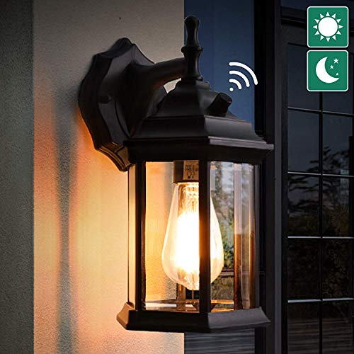 Lamomo Dusk to Dawn Outdoor Lighting Front Door Porch Light, Exterior Light Fixtures Black Wall Lantern with Light Bulb, LED Waterproof Aluminum Outdoor Wall Lights for Doorway Garage ETL Listed