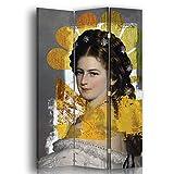 carowall CAROWALL.COM Biombo decoración Moderna Corcho 3 Paneles Unilateral Gris 110x175 cm