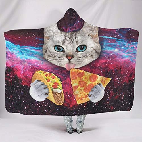 Born for-Anime Universal Kapuzenpullover Decke Galaxy Space Cat Essen Pizza 1 Themed Druck Mikrofaser Warmer Bademantel mit Kapuze – tragbare Decke für Erwachsene, Fleece, weiß, 50x60 inch