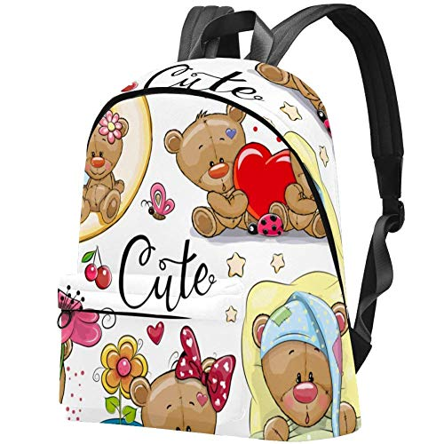 Cute Cartoon Teddy Bear Bag Teens Student Bookbag Lightweight Shoulder Bags Travel Backpack Daily Backpacks