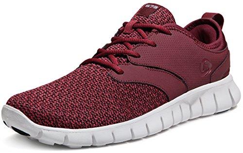 TSLA Men's Boost Running Walking Sneakers Performance Shoes, Lightweight Flex(x574) - Burgundy, 8