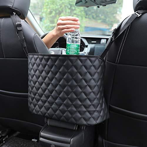 atimier Car Handbag Holder Luxury Leather Seat Back Organizer Mesh Large Capacity Bag Automotive Goods Storage Pocket Seat Crevice Net (Black)