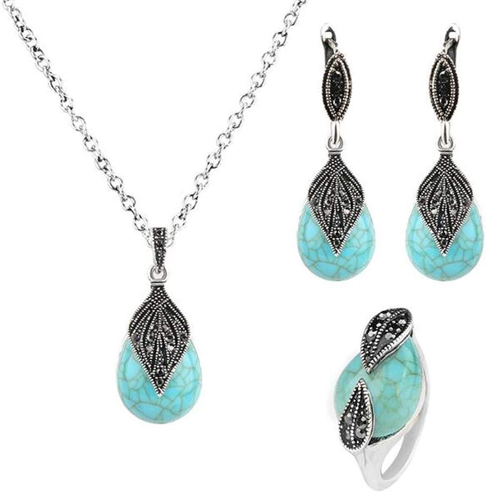 YAZILIND Women Rhinestone Leaf Shaped Turquoise Pendant Necklace Earrings Rings Elegant Wedding Bridal Banquet Jewelry Set