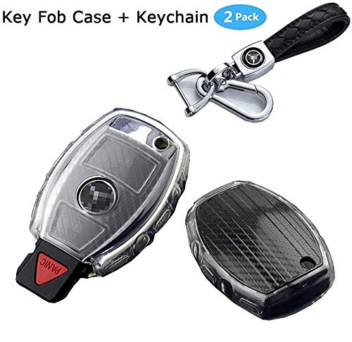 Aocoti for Benz Key Fob Cover and Car Key Chain kit,Compatible with Mercedes Benz C E S M CLS CLK G Class Keyless Smart Key Fob case (G-Black)