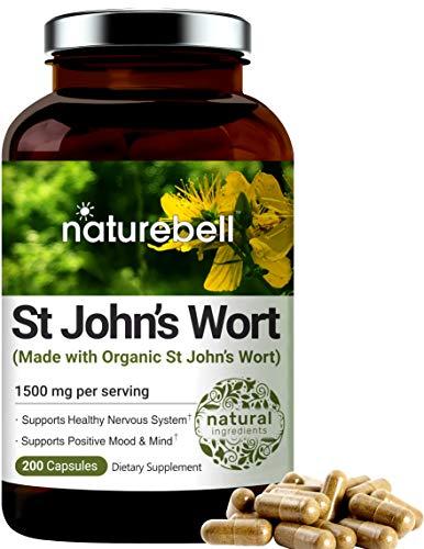 NatureBell St John's Wort Supplement, Made with Organic St John's Wort Complex, 1500 mg Per Serving, 200 Capsules