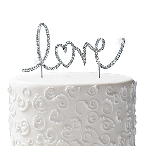 JennyGems Love Cake Topper - Wedding and Anniversary Silhouette Rhinestone Letters Cake Topper