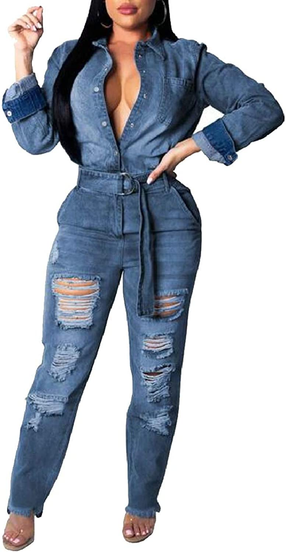 PujinggeCA Womens Long Sleeve Denim Romper High Neck Tie Waist Pants Jumpsuit