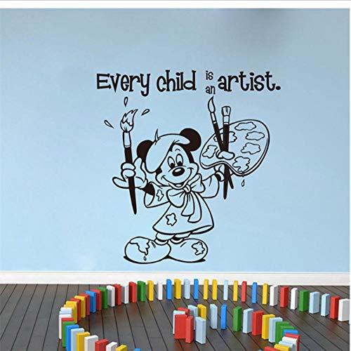 MUXIAND muurstickers elk kind is een kunstenaar patroon PVC DIY kunst voor huisdecoratie woonkamer slaapkamer Vinyl verwijderbare muurschildering liefde sport spel citaat tiener jongen 58x60cm
