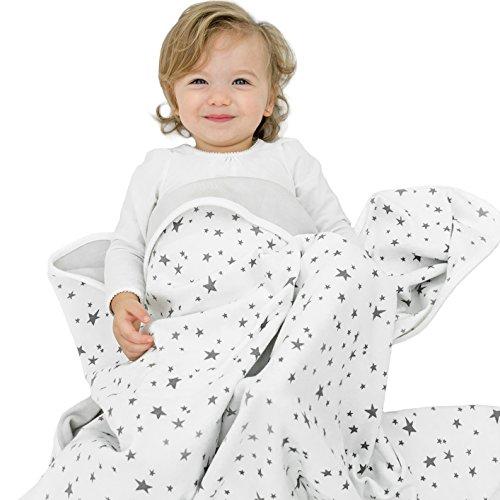 Woolino Toddler Blanket 4 Season Merino Wool Blanket 52.5' x 40' Stars Grey