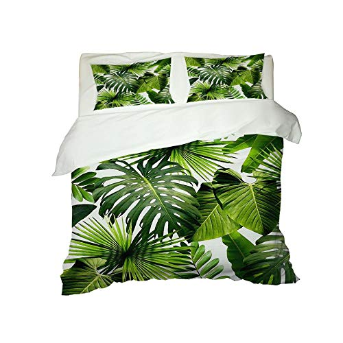 PERFECTPOT Super King Duvet Cover Set 3D Palm Leaves Printing Bedding Sets in Polyester, 1 Quilt Cover with 2 Pillowcases for Boys Girls Adults, 260x220