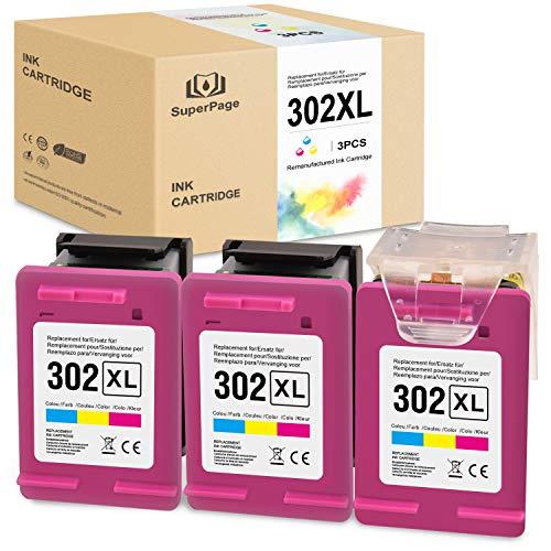 Superpage Compatible pour HP 302 XL Reconditionné Cartouches d'encre pour HP Officejet 3833 3834 3830 3832 4650 4654 Deskjet 3630 2130 1110 Envy 4522 4524 4525 4520 imprimantes(3er-Pack Couleur)