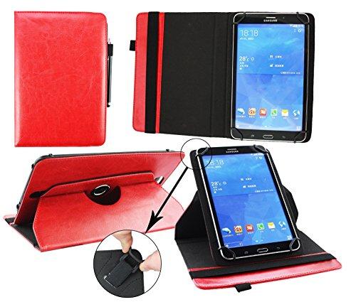 Emartbuy® Archos 101 Helium Lite 4G 10.1 Zoll Tablet Universal (9-10 Zoll) Rot Premium PU Leder 360GradrotierendeStandFolioGeldbörseTascheHülle + Schwarz Eingabestift