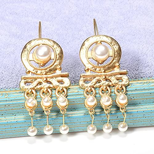 SALAN Pendientes Largos Colgantes De Oro Za, Pendientes De Perlas Finas, Accesorios De Joyería para Mujeres