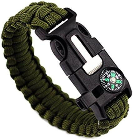 23cm Bracelet Paracord Bracelet de Survie Corde de Parachute avec Boucle Plastique OD Vert
