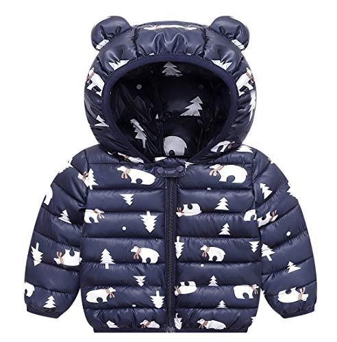 FEOYA - Winter babys met lange mouwen capuchon jas jongens meisjes gewatteerde jas katoen warme outwear kinderkleding - 12 maanden 5 jaar
