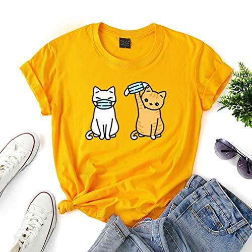 LXHcool Divertente T-Shirt Gatto Che Porta Una Maschera Coron_avirus Sono Sopravvissuto Cov_ID 19 T-Shirt Donna (Color : Yellow, Size : XL)