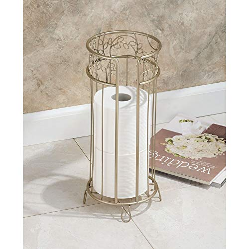 mDesign Decorative Free Standing Toilet Paper Holder Stand with Storage for 3 Rolls of Toilet Tissue - for Bathroom/Powder Room - Holds Mega Rolls - Durable Metal Wire Design - Pearl Champagne