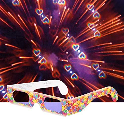 Party-Brille Konfetti (12 Stück) - tanze durch EIN Meer aus Herzen. Diese Brille Macht jedes Partylicht zum unglaublichen Herz-Erlebnis