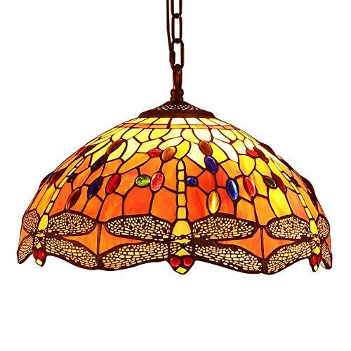 Bieye L30715 Dragonfly Tiffany Style Lampada a sospensione in vetro colorato con paralume largo 16 pollici fatto a mano, arancione