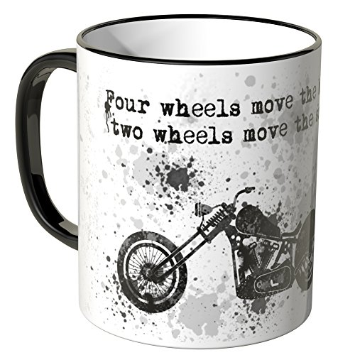 Motoking Tasse, Spruch: Four wheels move the body, … - SCHWARZ