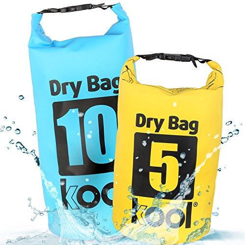 kool® Dry Bag Set 5L + 10L – Wasserabweisende Trockentasche/Seesack mit Trageriemen für Outdoor Aktivitäten wie Wandern/Camping/Kajakfahrt/Kanufahrt/Bootsfahrt/Rafting/Snowboarden