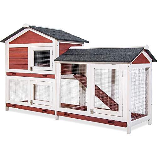 PURLOVE Pet Rabbit Hutch Wooden House Chicken Coop...