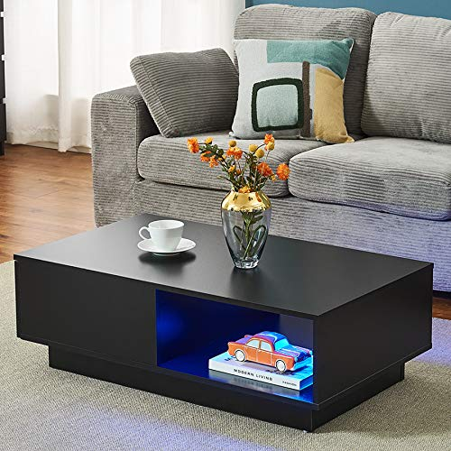 Modern Coffee Table with LED Light, Rectangle Side End Sofa Tea Storage Table with shelf and 1 drawer Living Room Home Office Furniture (Black)