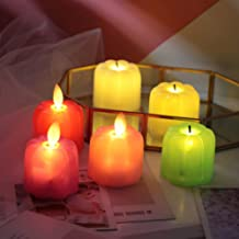 OSALADI 10pcs Halloween Pumpkin Flameless Candle Lights LED Electric Night Light Party Supplies Black Wick Mixed Colors