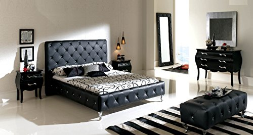 Great Price! Nelly Black Bedroom Set (Queen Bed/2 Nightstand/Dresser/Mirror/Chest/Bench/Chaise Loung...