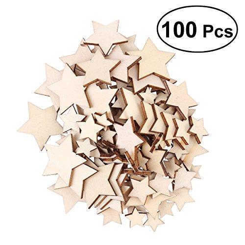 Rosenice Holzsterne für Patchworkarbeiten, Basteln, Handwerk, DIY, Dekoration für Geburtstagsparty (1,5 cm, 2 cm, 3 cm, 3,5 cm, sortierte Größe) 100 Stück