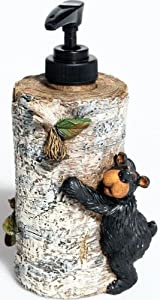"WD Willie Black Bear Liquid Soap Dispenser, 7"""