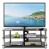 Mesa de cristal transparente para televisor, mesa curvada, transparente, para 32-45 pulgadas, plasma, LCD/LED/3D (transparente)