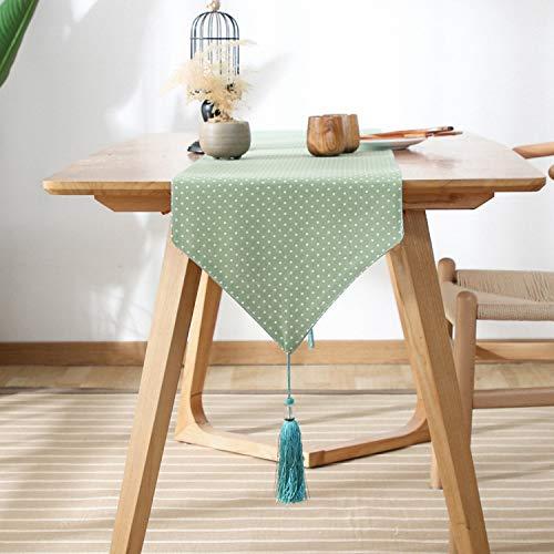 FeiFei156 Einfache Literarische Und Künstlerische Baumwolle Hanf Kleine Frische Tisch Flagge Wave Point Flow Su Doppel Tischflagge Grüner Wellenpunkt 33 x 180cm
