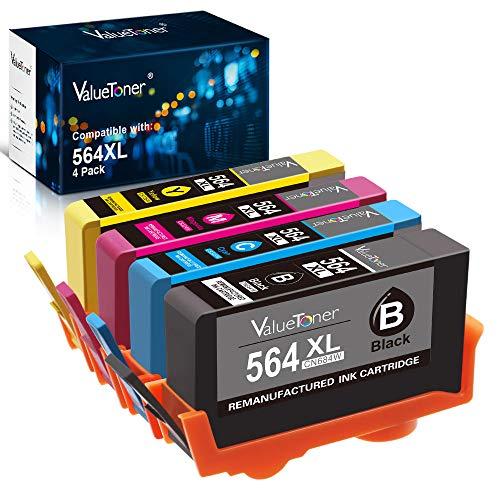 Valuetoner Remanufactured Ink Cartridge Replacement for HP 564XL 564 XL for Officejet 4620, Photosmart 7510 7520 6520 5510 5514 5520 6515, Deskjet 3520 3522 Printer (Black, Cyan, Magenta, Yellow)
