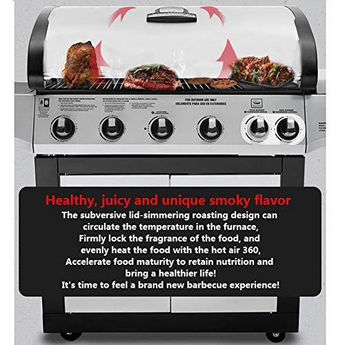 51aBGSilYGL - Gasgrill, BBQ Grillwagen Mit 5 Edelstahlbrennern Und Seitenkocher, Standgrill Mit Deckel Und Thermometer, Reinigungssystem