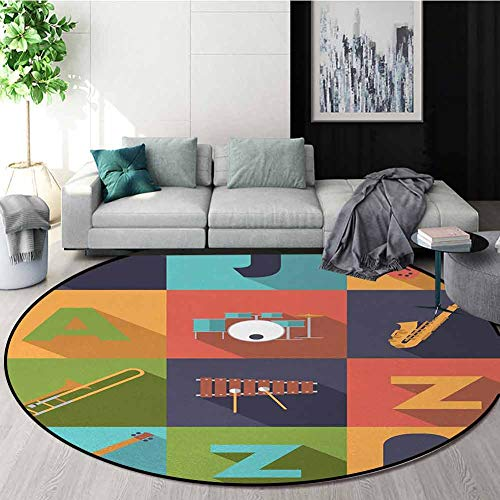 Check Out This DESPKON-HOME Music Print Area Rug,Colorful All Jazz Equipment Set On Flat Design Funk...