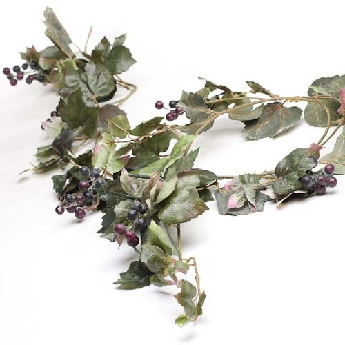 Tuscany Artificial Grape Leaf and Mini Grape Bunch Garland for Home Decor, Embellishing and Crafting