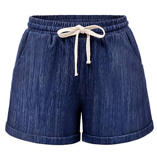 Raroauf Women's Drawstring Elastic Waist Comfy Cotton Bermuda Beach Shorts Chambray Tag 3XL-US 14