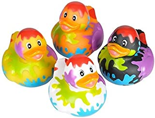 Novelty 4 Count Paint Splatter Style Rubber Ducks