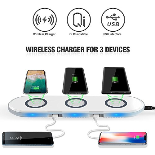 QI Multiple Fast Wireless Charger/Charging Pad with 3 Wireless Charging Ports and 4 USB Multi Ports...